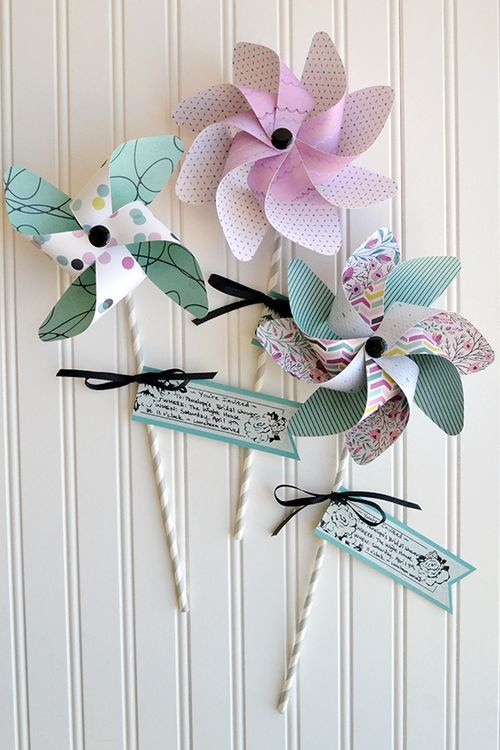 Pinwheel Party Invites by Aly Dosdall #SCTmagazine