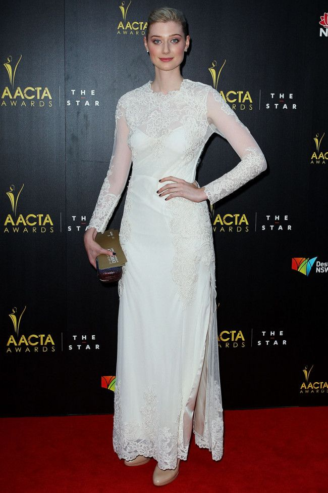 Elizabeth Debicki in Thurley and Tiffany & Co jewellery on the 2nd AACTA Awards red carpet.