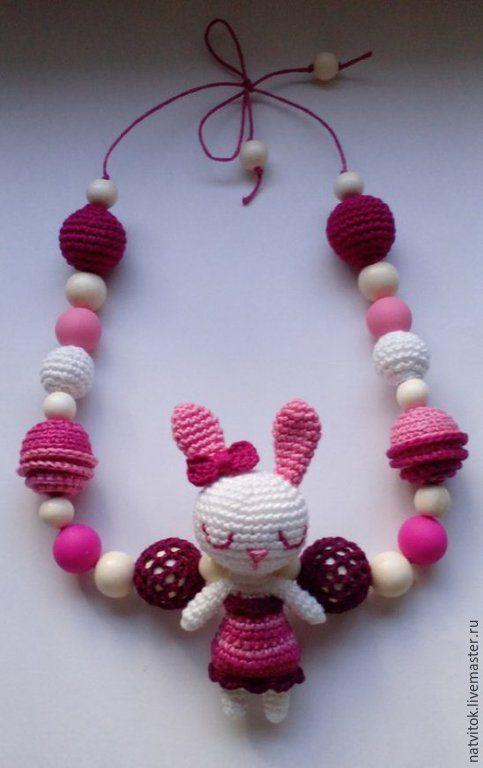 слингобусы Зайка nursing necklace / Teething necklace / Crochet nursing necklace / bunny