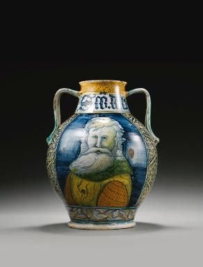 A CASTELLI MAIOLICA APOTHECARY JAR, CIRCA 1530-1540  of Orsini-Colonna type,  H. 38 cm