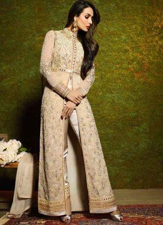 Malaika Arora Khan Beige Stone Work Georgette Anarkali Long Wedding Suit http://www.angelnx.com/Salwar-Kameez/Bollywood-Salwar
