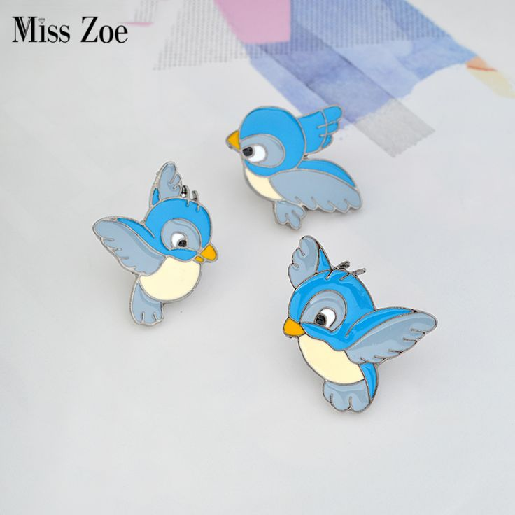 Miss Zoe Enamel blue bird pin Cartoon flying fledgling Animal Brooch Denim Jacket Pin Buckle Shirt Badge Gift for Kids #Affiliate