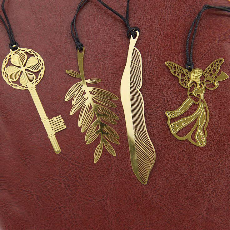 10 UNIDS Lindo Kawaii Señal Del Metal del Oro Clave de La Vendimia Del Ángel de la Pluma Marcadores Papel Clip de Libro Corea Papelería