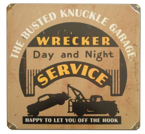 """Busted Knuckle Garage BKG-148 12"""" Vintage Wrecker Service Shop Metal Sign. For product info go to:  https://www.caraccessoriesonlinemarket.com/busted-knuckle-garage-bkg-148-12-vintage-wrecker-service-shop-metal-sign/"""