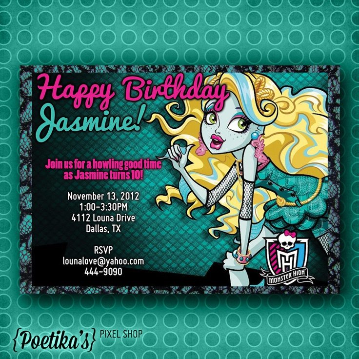17 Best images about my invitations – Monster High Birthday Invitations