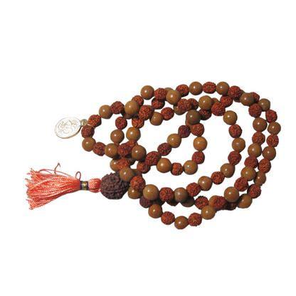 Mogulinterior Spiritual Gold Stone Rudraksha Prayer Beads Yoga Meditation Om Mala