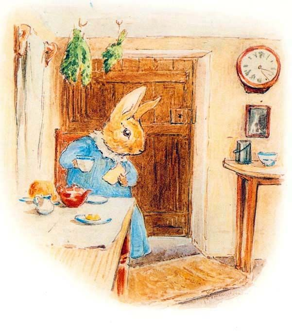 Now who is this knocking at Cottontail's door? Tap tappit! Tap tappit! She's heard it before! - Appley Dapply Nursery Rhymes, 1917