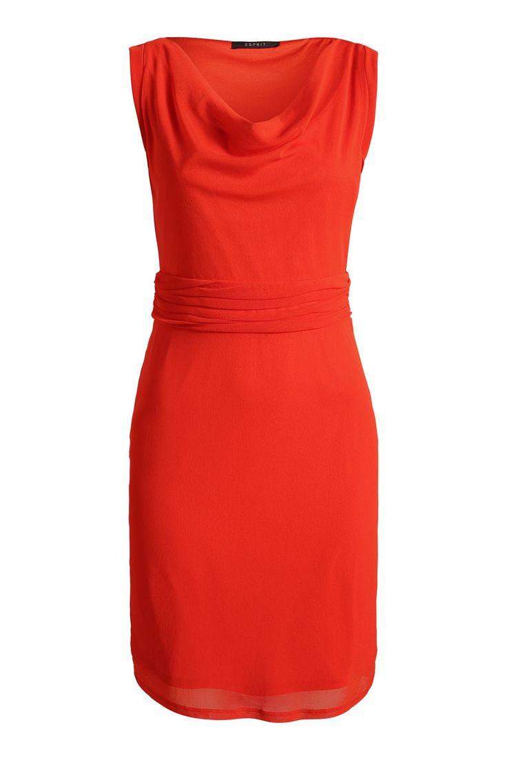 Esprit - - Fijne mesh jurk met een watervalhals kopen in de online shop