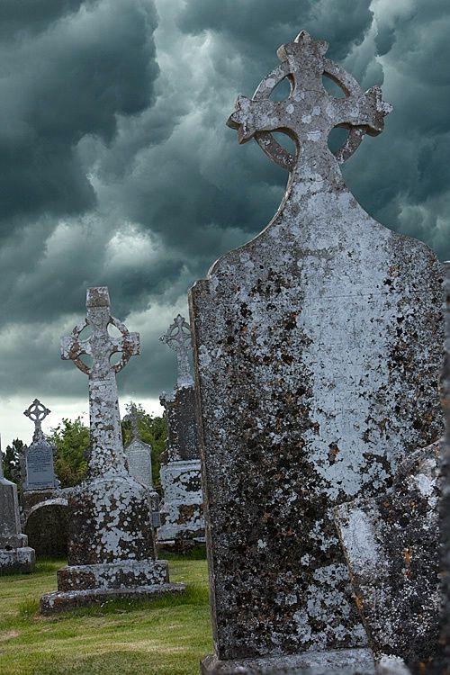 Celtic Crosses, Clonmacnoise cemetery, county Offaly, Ireland