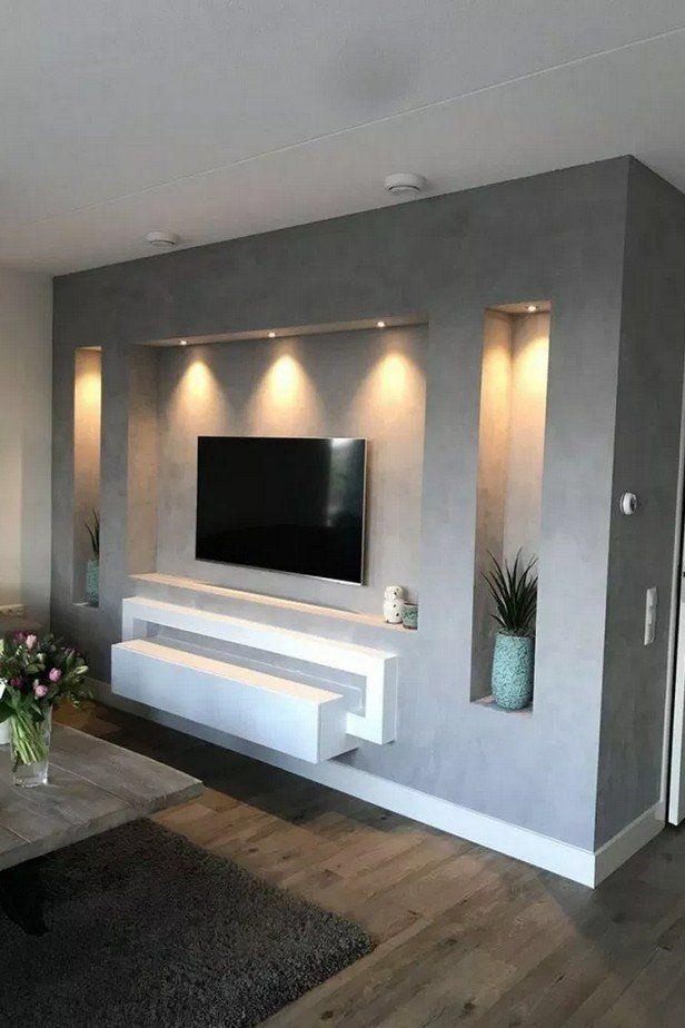 Living Room Decor For Tv Wall 76 Amazing Tv Wall Design Ideas For Living Room Decor 52 Condo Interior Design Tv Wall Design Ceiling Design Bedroom