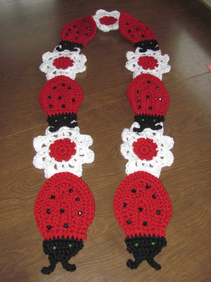 LadyBugs and Flowers Crochet Scarf by shariromes on Etsy