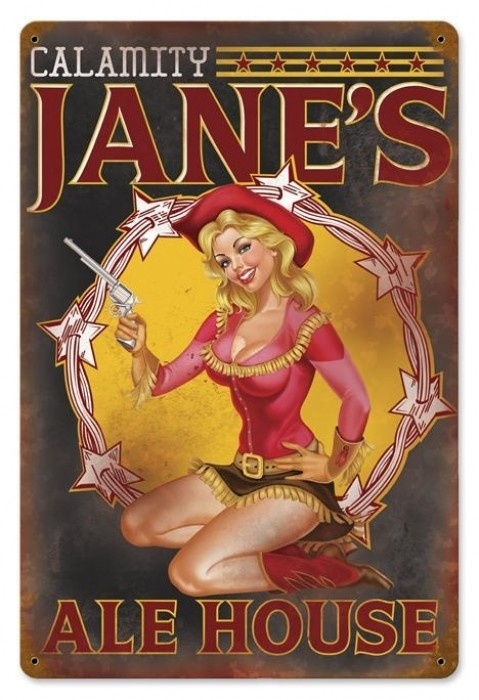 Vintage and Retro Wall Decor - JackandFriends.com - Retro Calamity Jane  - Pin-Up Girl Metal Sign, $39.97 (http://www.jackandfriends.com/vintage-calamity-jane-metal-sign/)