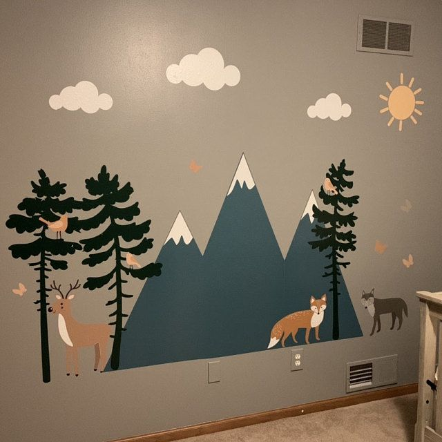 Camping Wall Decals Nursery Wall Decor Mountain Wall Decals Etsy Nursery Wall Decals Art Wall Kids Mountain Wall Decal