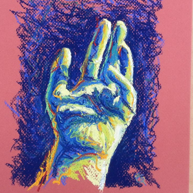 The Artist's hand in pastel (hand number one) by Liz Powley #100hands