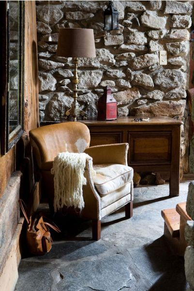 +: Chalets Interiors, Cozy Corner, Chairs, Stones Wall, Rustic Chair, Interiordesign Stylists, Cabins, Love It, Photo