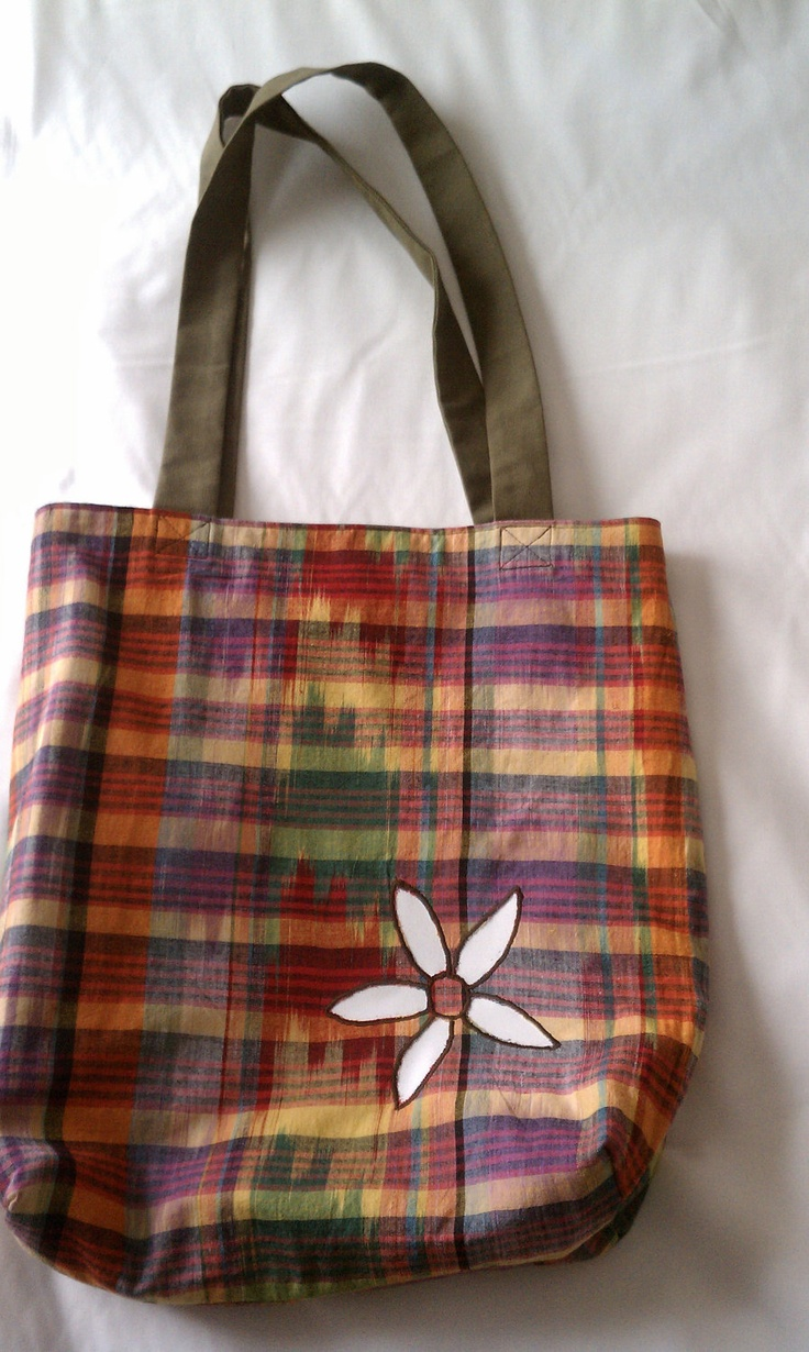 Reversible Upcycled Olive Green Canvas and Madras Plaid Tote with Embroidered Flower. $68.00, via Etsy.