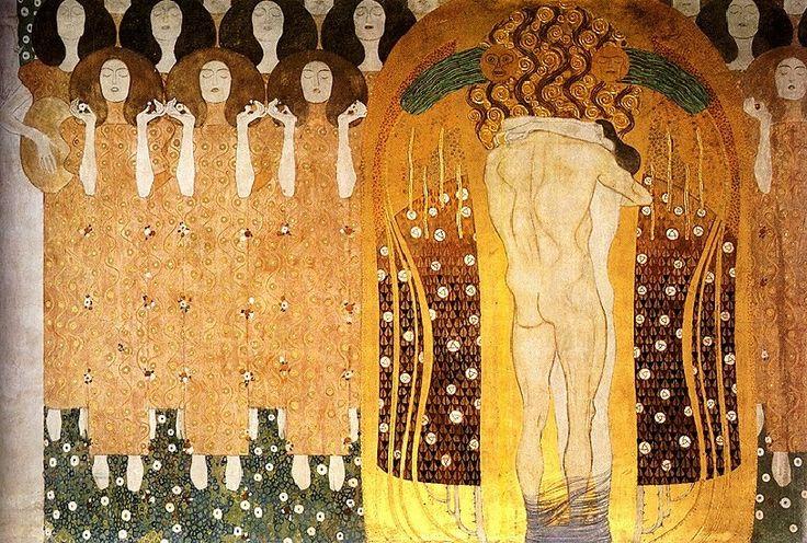 Beethoven Frieze(detail)02 (1902), Oil by Gustav Klimt (1862-1918, Austria)