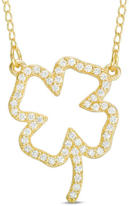 Zales 1/3 CT. T.W. Diamond Four Leaf Clover Necklace in 10K Gold