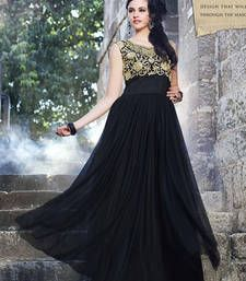 Buy Black embroidered net semi stitched salwar with dupatta party-wear-gown online