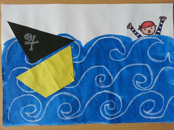 Eerst met witte wasco golven maken. Dan blauwe ecoline voor de zee en als de ecoline nog nat is er zout overheen strooien.  Bootje vouwen en piraat tekenen.
