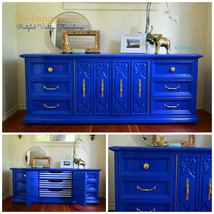 Thinking I Want To Paint Our Cabinets This Shade Of Blue: Cobalt Blue Nautical Custom Order Lacquer Oversized