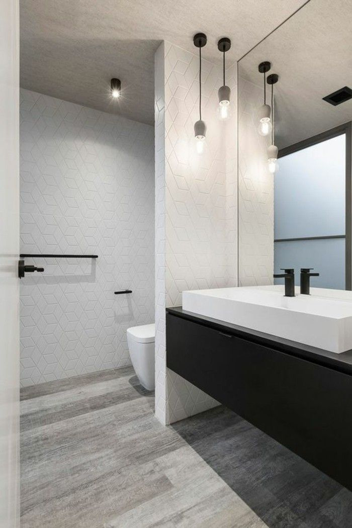 Remodeling Ideas, Grey Wooden Floor, White Textured Walls, Black Mounted  Cupboard, Large White Sink With Black Tap, Big Wall Mirror And Two Hanging  Lights