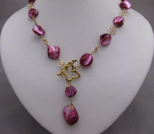 Fuschia-Freeform Shell Necklace | KraftouchTreasures - Jewelry on ArtFire