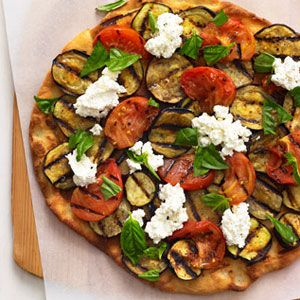 Your grill shouldn't be reserved for just burgers and ribs, and this mouthwatering pie proves why. If you're not an eggplant fan, try zucchini, red peppers or slices of grilled sausage. #MyPlate #Pizza #Nutrition