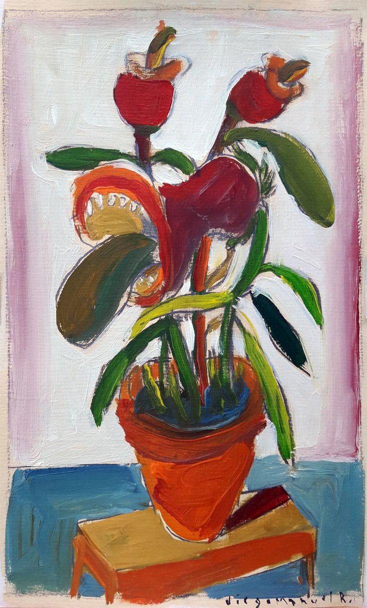 """""""Flor carnivora 1 """", gouache sobre papel, 20 x 26 cm. 2001"""