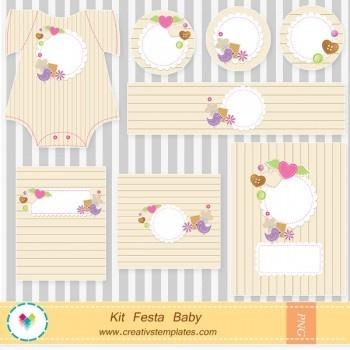 Kit Festa   - Cute Bird mod:721 Bird, passarinho,bege, listrado, menino,bebê, nascimento,maternidade, creativs