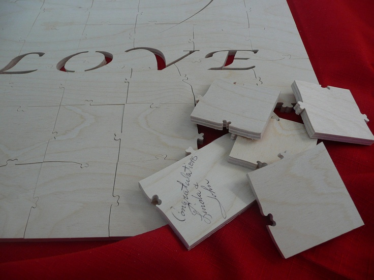 wooden guest book puzzle  125 pieces  by takarawoodentreasure, $230.00