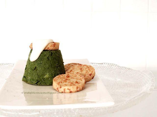 Arabafelice in cucina!: Budini di spinaci con salsa allo yogurt e salatini di feta e mais