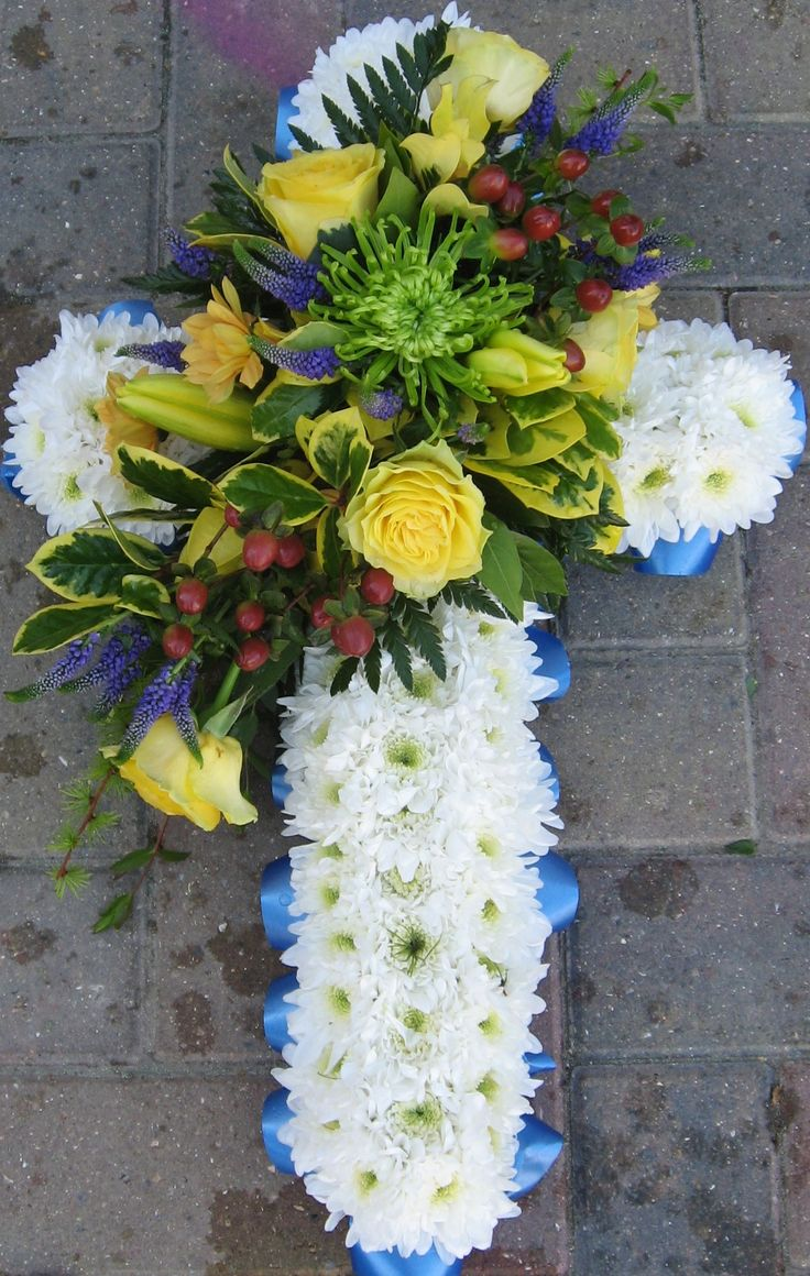 46 best bloomin chic funeral flowers images on pinterest funeral tribute funeral flowers white cross flower tribute dhlflorist Choice Image