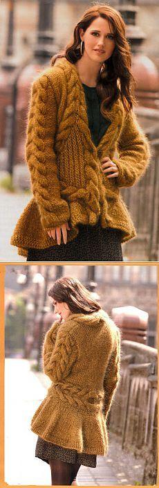 Кардиган горчичного цвета с фалдами и косами | Шкатулочка для рукодельниц
