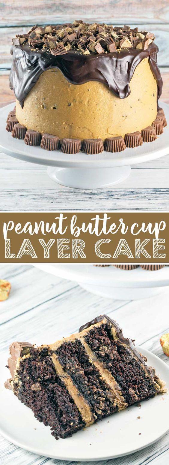 Chocolate Peanut Butter Cup Cake: Chocolate cake, peanut butter frosting, chocolate ganache, peanut butter cups. This Peanut Butter Cup Cake is a chocolate and peanut butter lover's dream. {Bunsen Burner Bakery} via @bnsnbrnrbakery