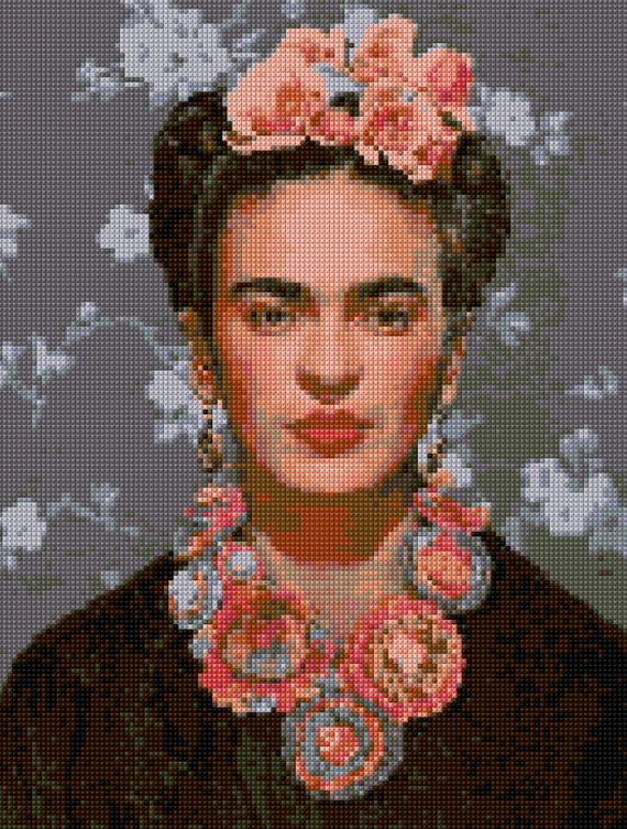 Cross stitch Frida Kahlo Portrait pattern PDF - EASY chart with one color per sheet And regular chart! Two charts in one!