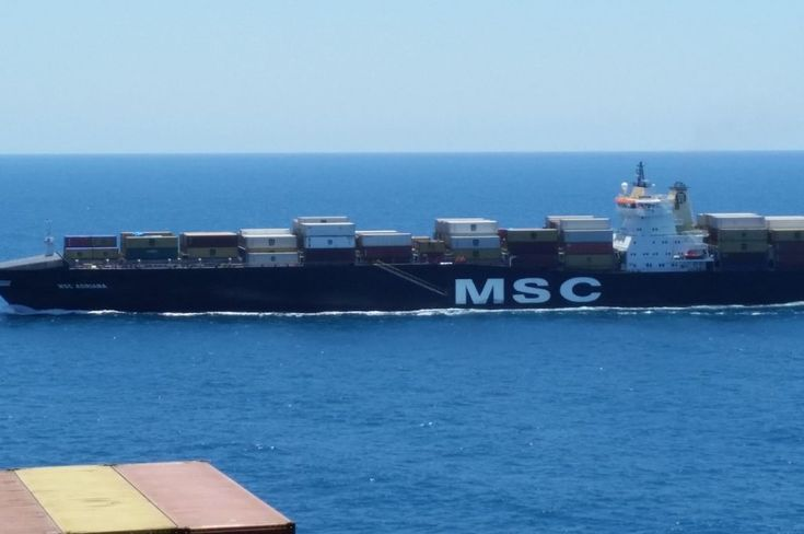 MSC ADRIANA - Container vessel of Mediterranean Shipping Company on her approach to port of Piraeus,