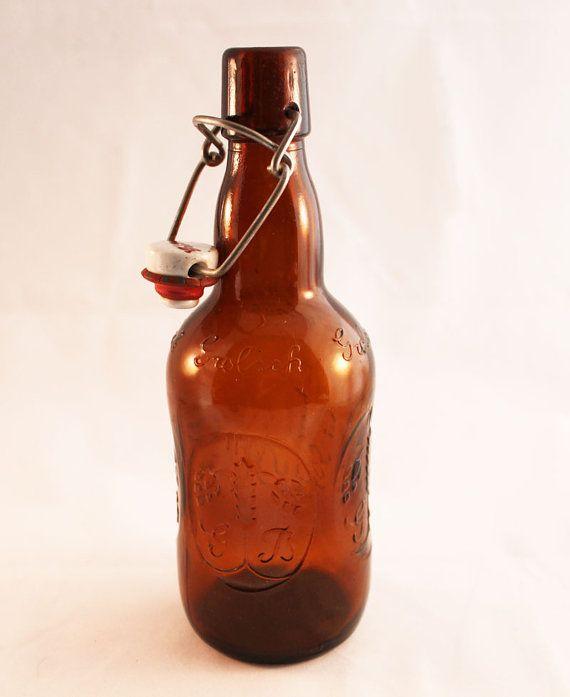 Vintage Brown Grolsch Beer Flip Top Bottle