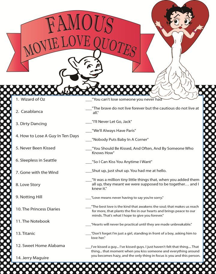 Bridal Shower Game Famous Move Quotes Bridal Shower Pinterest