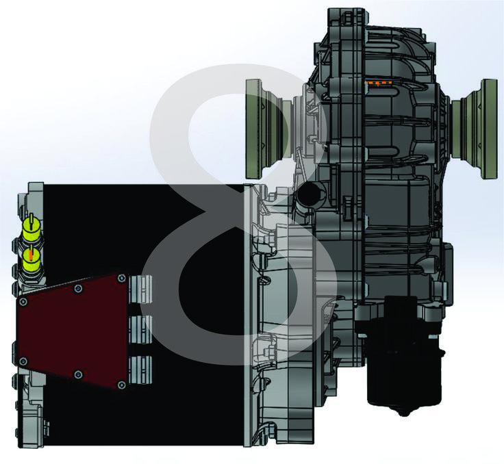 Vista lateral izquierda de Motor Electrico & Transeje