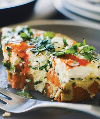 Healthy Breakfast Recipe: Baby Spinach Frittata with Sweet Potato Hash Crust