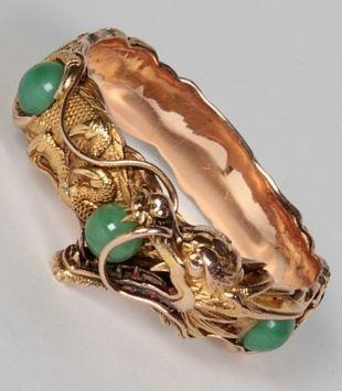 "An antique Arthur & Bond, Yokohama, 18K gold sculptural ""Dragon"" bracelet set with jade spheres, signed, c. 1900. #ArthurBond #antique bracelet"