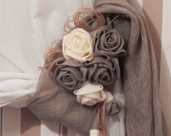 Rustic Curtain Tie Back, Organic Linen Flower Curtain TieBack, Curtain Holdbacks, Rustic Home Decor, Country Home