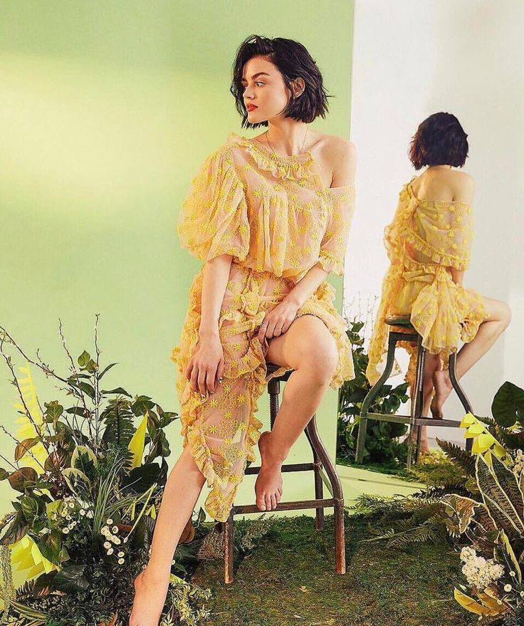 """Lucy Hale yellow sheer floral dress """"Secret Garden feeeelz"""". Perfect for spring"""