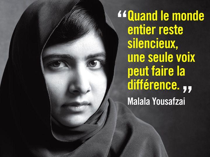 """Malala Yousafzai,17 ans et plus jeune lauréate d'un Prix Nobel. """"Prenons nos cahiers et nos crayons. Ce sont nos armes les plus puissantes» Malala Yousafzai."""