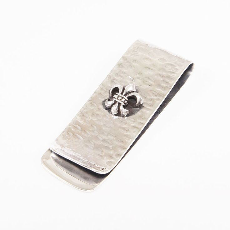 FLEUR DE LIS HAND HAMMERED 925 STERLING SILVER MONEY CLIP tp-m3 #Handmade
