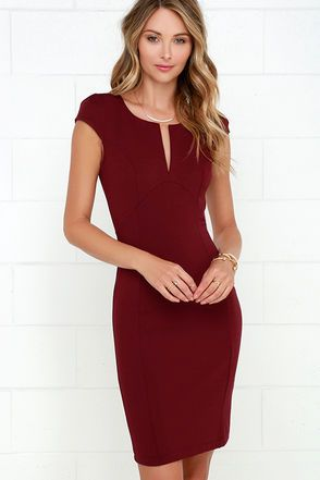 LuLu*s| Top Notch Maroon Midi Dress! Dress this slimming stretch knit dress up or down and enjoy the versatility of cute cap sleeves, a notched neckline, and an undulating seam under the bust that makes the most of your curves. Princess seams. Midi-length skirt. Exposed back zipper. Front of bodice is lined. 65% Rayon, 30% Nylon, 5% Spandex. Hand Wash Cold or Dry Clean. Made with Love in the U.S.A.