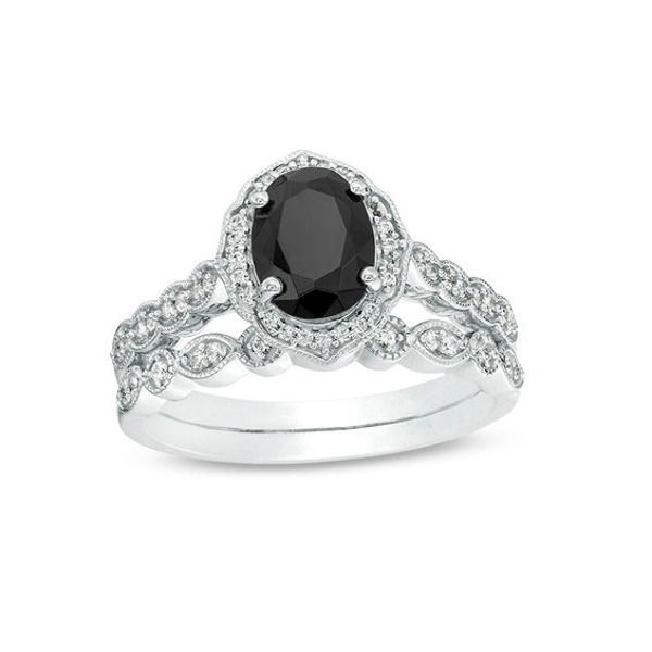 Oval Lab Created Black Sapphire And 1 5 Ct T W Diamond Frame Vintage Style Bridal Set In 10k White Gold In 2020 Bridesmaid Jewelry Sets Black Sapphire Engagement Wedding Ring Sets