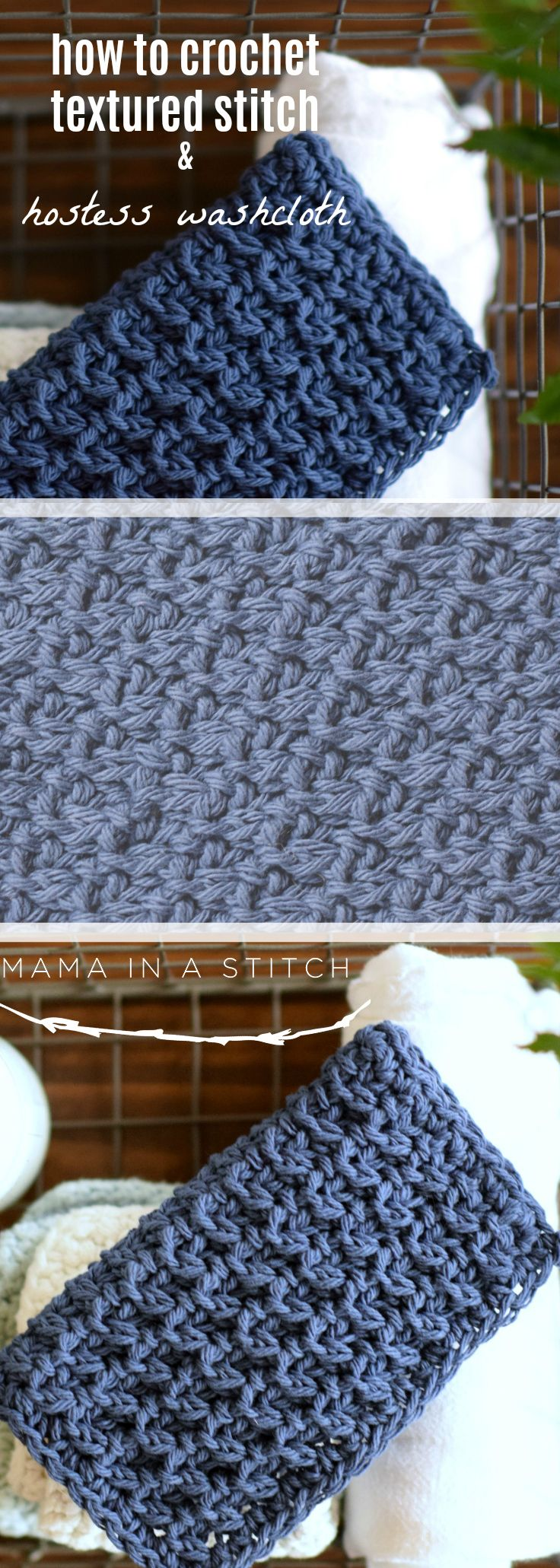 How To Crochet Textured Stitch & Hostess Washcloth via @MamaInAStitch