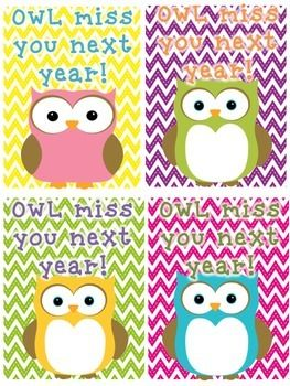 """OWL miss you next year!"" card FREEBIE #TPT"